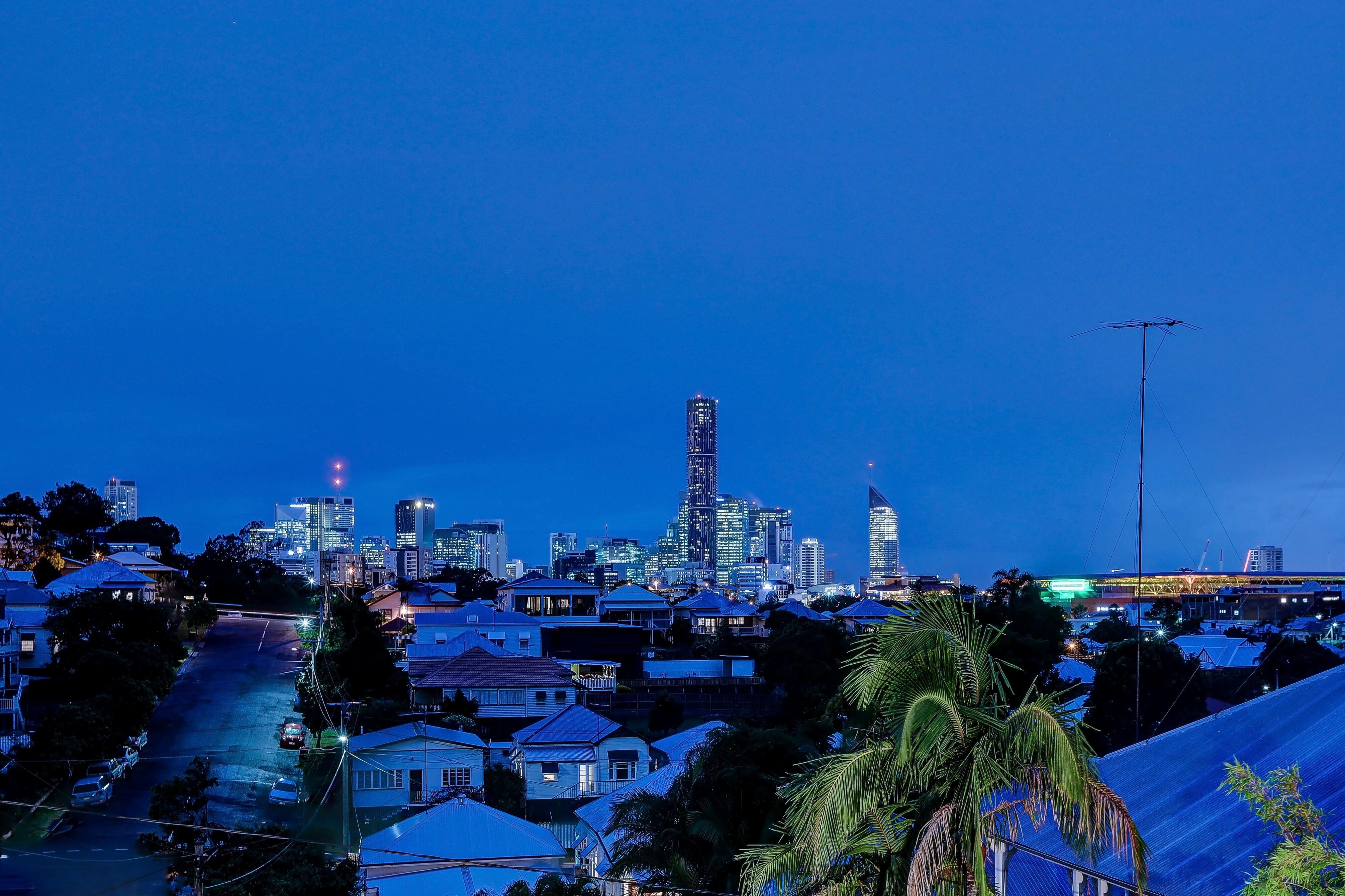 Night time views of city