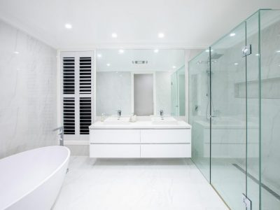Large bathroom with marble