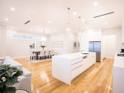 Open plan living and timber floors