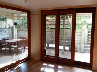 Timber-fixed glass sliding doors