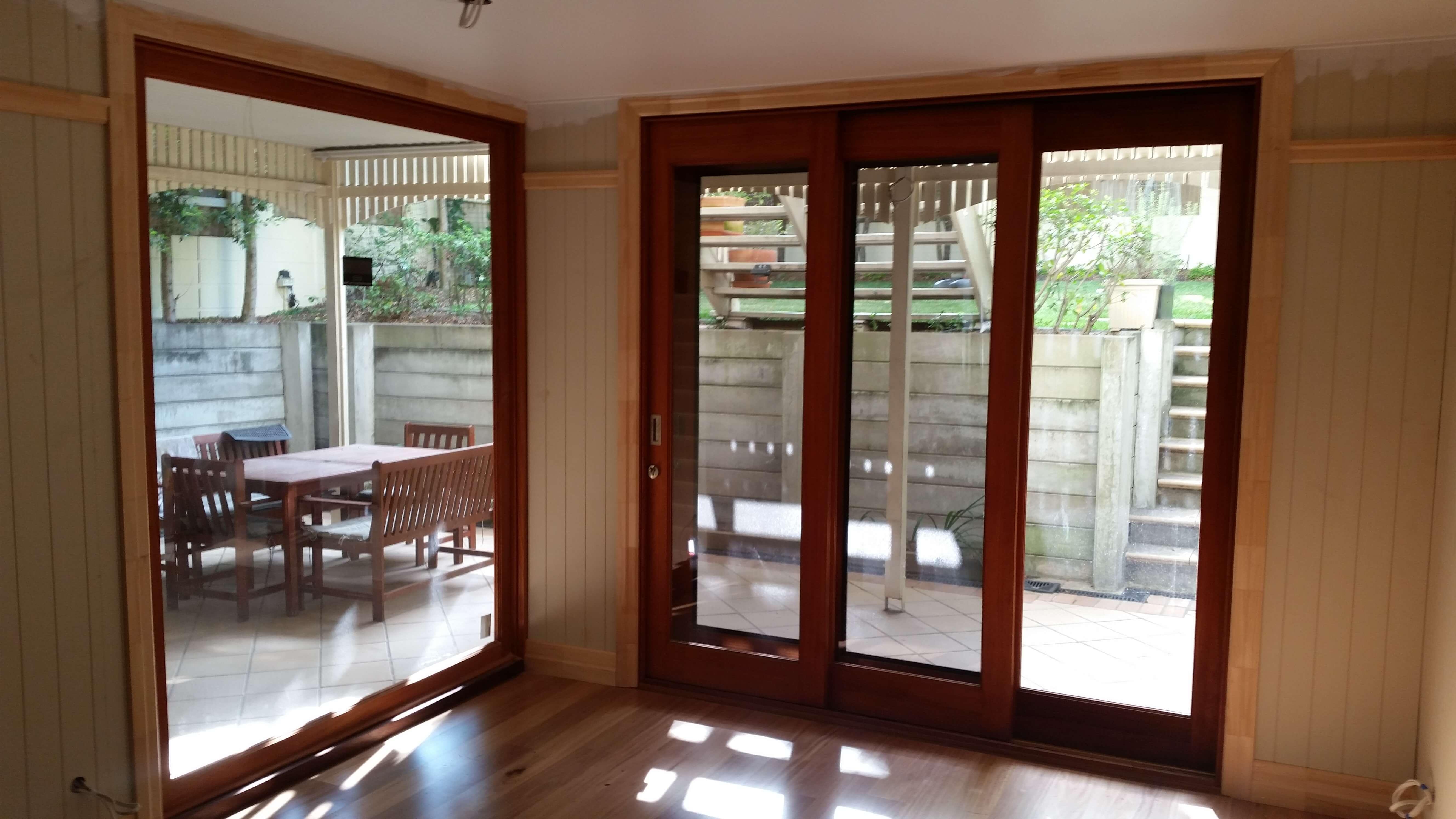 Timber-fixed glass sliding doors