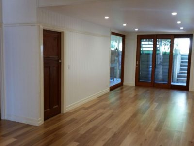Timber floor and sliding doors