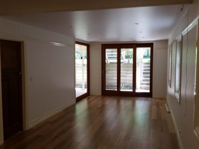 Timber floor and glass sliding doors
