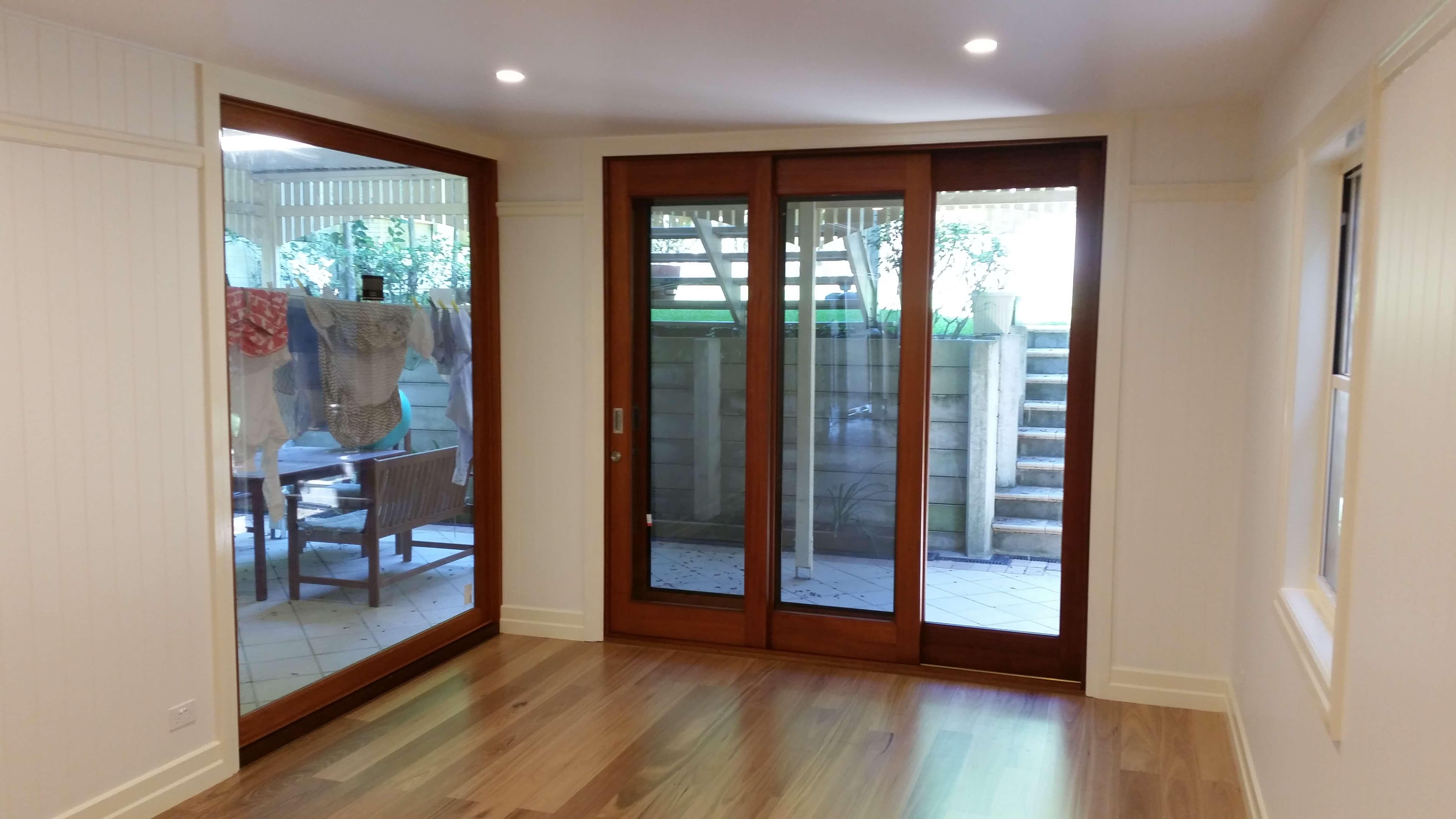 Sliding glass doors to outside