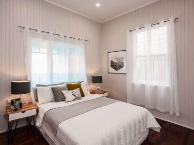 Post-war home bedroom with neutral tones