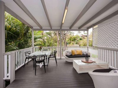 Large deck with outdoor furniture