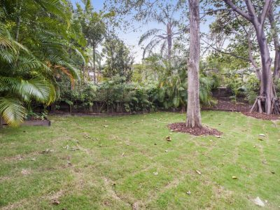 Large backyard with trees