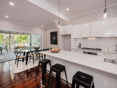 Open plan living with kitchen and dining