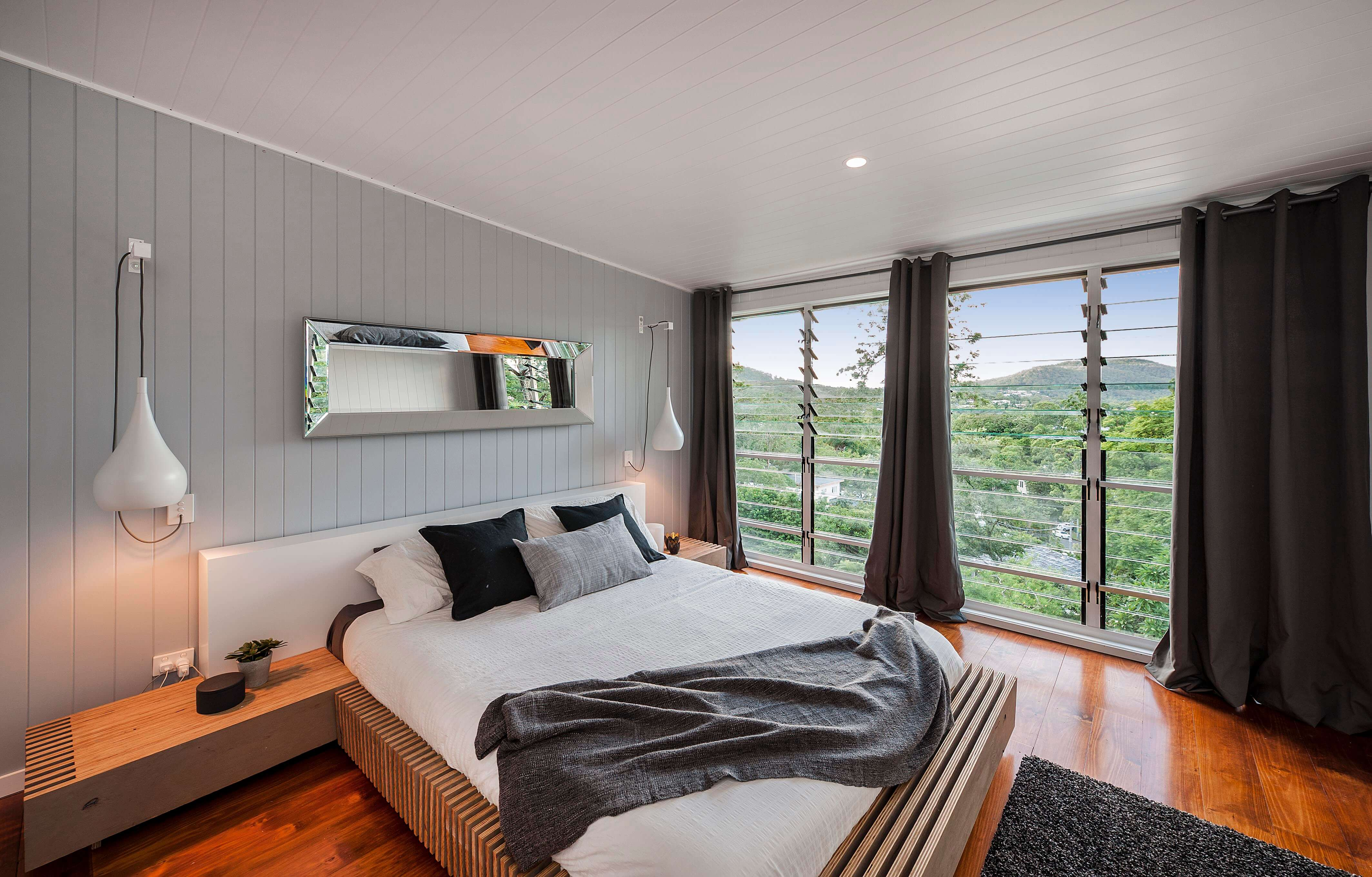 Spacious bedroom with views